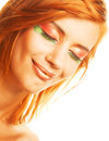 Redhaired woman happy smiling with creative makeuprr Stock Photo