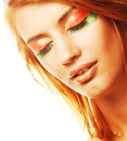 Redhaired woman happy smiling with creative makeuprr Stock Images