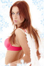 Redhead angel girl in pink lingerie Royalty Free Stock Photo