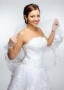 Redhead bride portrait in studio Royalty Free Stock Photos