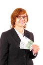 Redhead business woman holding money with christmas snowflake isolated Royalty Free Stock Photo