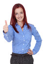 Redhead businesswoman shows thumb up Stock Images