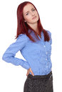 Redhead female suffer from back pain, isolated Royalty Free Stock Photo