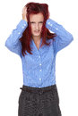 Redhead female tear her hair out, stressed Stock Photo