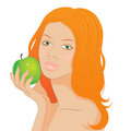 Redhead girl with an apple Stock Photo