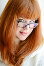 Redhead girl with glasses portrait of caucasian Stock Photo