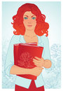 Redhead girl holding books. Vector illustration. Royalty Free Stock Photos