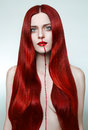 image photo : Redhead nose bleeding girl