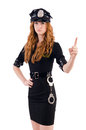 Redhead police officer isolated on white Royalty Free Stock Image