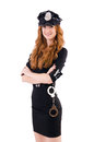 Redhead police officer isolated on white Stock Photos