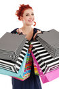 Redhead shopaholic Royalty Free Stock Photo