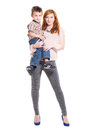Redhead woman posing with a little boy Royalty Free Stock Photo