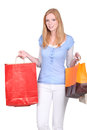 Redhead woman shopping bags Stock Photography