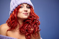 Redhead woman in warm clothing beautiful Royalty Free Stock Photos