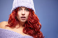 Redhead woman in warm clothing beautiful Royalty Free Stock Photography