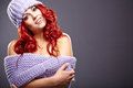 Redhead woman in warm clothing beautiful Stock Photography