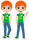 Redheaded boy illustration of a funny face and freckles fun outfit summer child friendly teen trendy kid Royalty Free Stock Photography