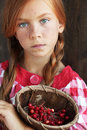 Redheaded child cute on vintage brown background Royalty Free Stock Images
