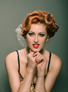 Redheaded pin up Stock Image