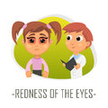 Redness of the eyes medical concept. Vector illustration.