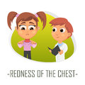 Redness of the woman chest medical concept. Vector illustration.