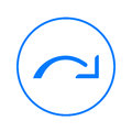 Redo, right arrow circular line icon. Round colorful sign. Flat style vector symbol.