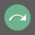 Redo, right arrow flat icon. Round colorful button, circular vector sign with shadow effect. Flat style design.