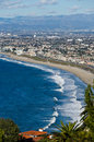 Redondo beach aerial view of waves breaking on los angeles county california u s a Royalty Free Stock Photography