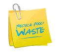Reduce food waste post memo sign concept illustration design over white background Royalty Free Stock Images
