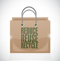 Reduce reuse recycle brown paper bag illustration design over a white background Stock Photo