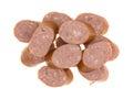Reduced calorie kielbasa sausage slices Royalty Free Stock Photo