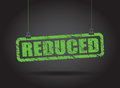 Reduced hanging sign a green Royalty Free Stock Photography