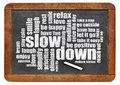 Reducing stress tips slow down and relax in a form of a word cloud on a vintage blackboard Royalty Free Stock Photos