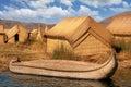 image photo : Reed Huts Boat Lake Titicaca Floating Island