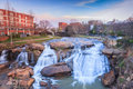 Reedy river waterfalls greenville south carolina river walk at falls park in the middle of downtown Royalty Free Stock Image