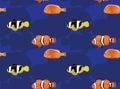 Reef Fish Orange Clownfish Cartoon Seamless Wallpaper