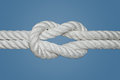 Reef knot or square knot the is quick and easy to tie it is a good for securing non critical items this was used for Stock Image
