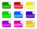 Reeks Glanzende Stickers met Gekrulde Rand Royalty-vrije Stock Foto