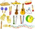 Reeks grappige beeldverhaal muzikale instrumenten Stock Afbeeldingen