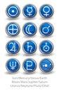 Reeks rond gemaakte pictogrammen voor de planeten de zon en de maan met venus m Stock Foto