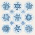 Reeks van dertien vector van de de sneeuwvlokvorm van lijnart stroke offset geometric blue het ontwerpelementen Royalty-vrije Stock Foto