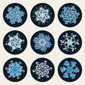 Reeks van negen vector van de de sneeuwvlokvorm van lijnart stroke offset geometric blue het ontwerpelementen Stock Afbeeldingen