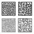Reeks van vier labyrinten Royalty-vrije Stock Afbeeldingen