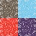 Reeks van vier naadloze patroon gelukkige vogels en nesten met eieren Royalty-vrije Stock Afbeelding
