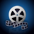 Reel of film and twisted cinema tape on blue background illustration Stock Image