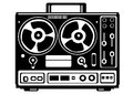 Reel tape recorder on white background Stock Images