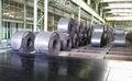 Reels of steel plate in shop Royalty Free Stock Photo