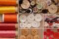 Reels of thread and buttons Royalty Free Stock Photo