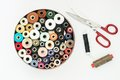 Reels of thread and scissors Stock Photography