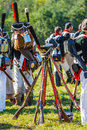 Reenactment of the Borodino battle between Russian Royalty Free Stock Image
